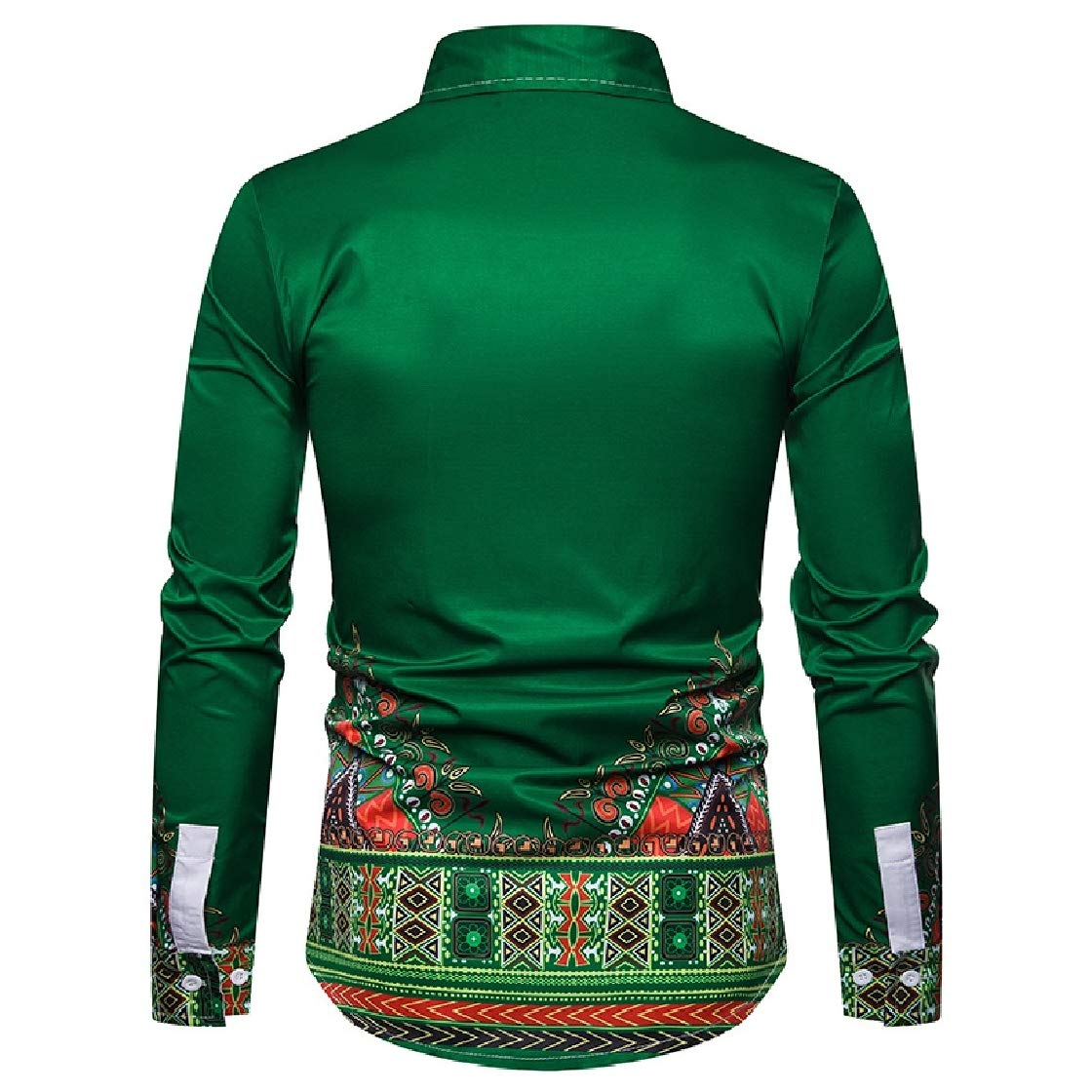 YUNY Mens Regular-Fit Long Sleeve Heart Printing Peaked Collar 3D Shirts Green S