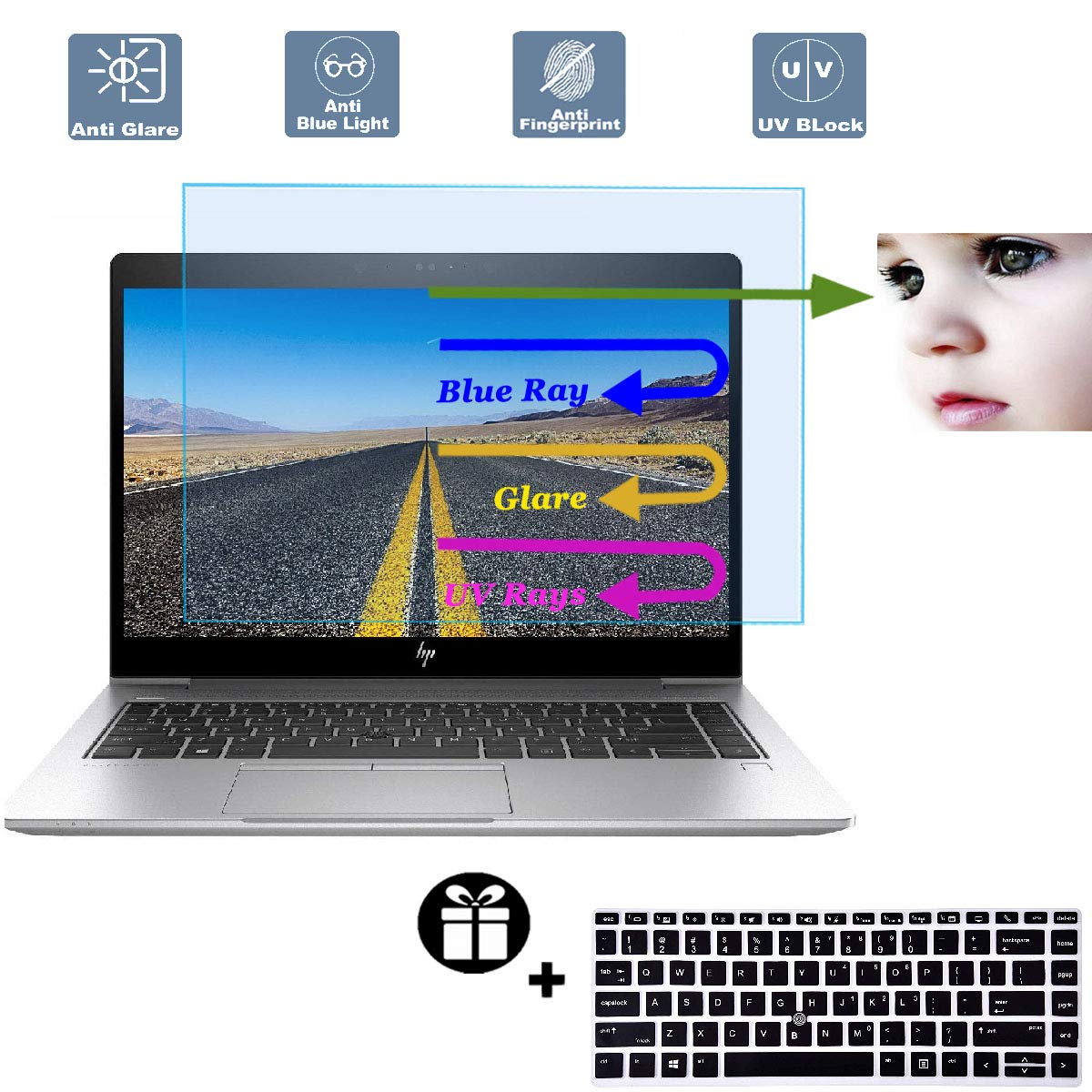 2 Pack Anti/Blue/Light Anti Glare Screen Protector Fit HP Elitebook 840 G5 14 Touch-Screen Laptop with Gift Keyboard Cover Eyes Protection Filter Reduces Eye Strain Help You Sleep Better