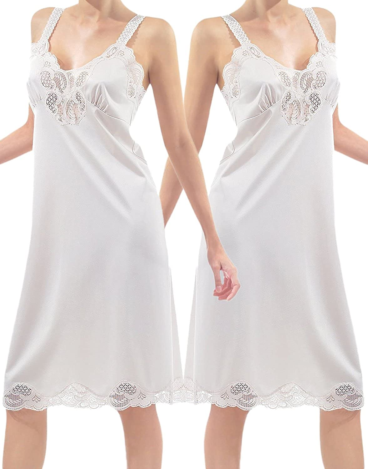Under Moments Women Full Chemise Cami Slip Camisole Dress Nightgown 2 Pack UM-2012