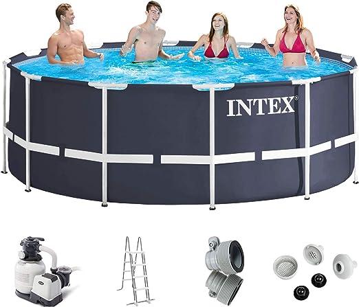 Juego completo para piscinas con filtro de arena y escalera de Intex, 366 x 122Cubierta, soporte inferior para piscina, kit de conexión para balsa de piscina, marco de acero metálico: Amazon.es: Jardín