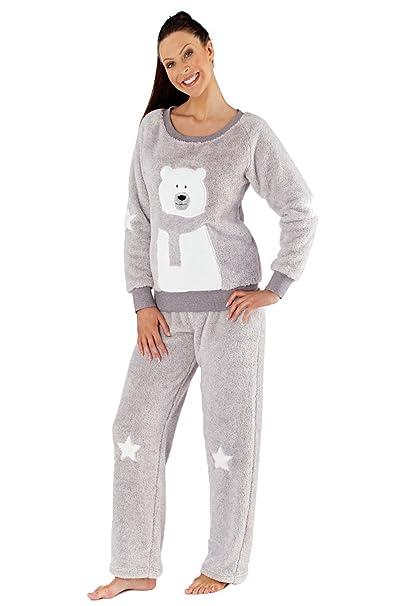 latest buy online details for Ladies Selena Secrets Polar Bear Fleece Pyjamas