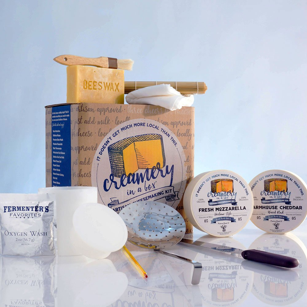 Creamery In A Box Essential Cheese Making Equipment Starter Kit with Farmhouse Cheddar Cheese Recipe Kit and Mozzarella Cheese Recipe Kit