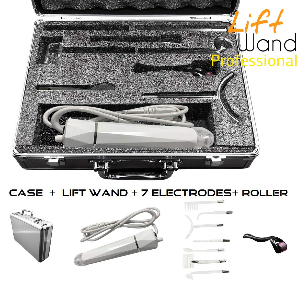Lift Wand Professional High Frequency Machine Includes 7 Electrodes, Roller and Alumimum Case, Anti Aging Device, Diminish Wrinkles, Scars, Dark Circles, Breakthrough Device for Beauty, Anti Aging by Lift Care