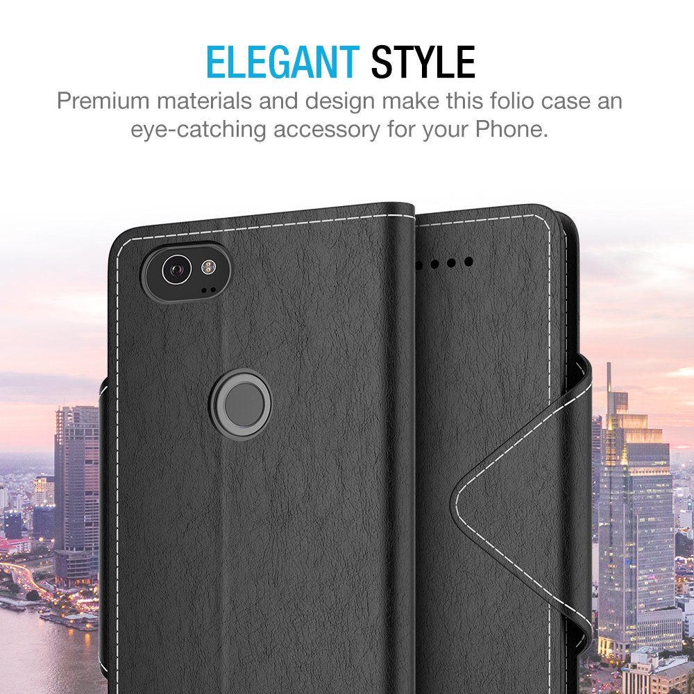Maxboost Google Pixel 2 XL Wallet Case, [Folio Style] Premium Google Pixel 2 XL Card Cases Stand Feature [Black] Protective PU Leather Flip Cover with Card Slot + Side Pocket Magnetic for Pixel 2 XL by Maxboost (Image #6)
