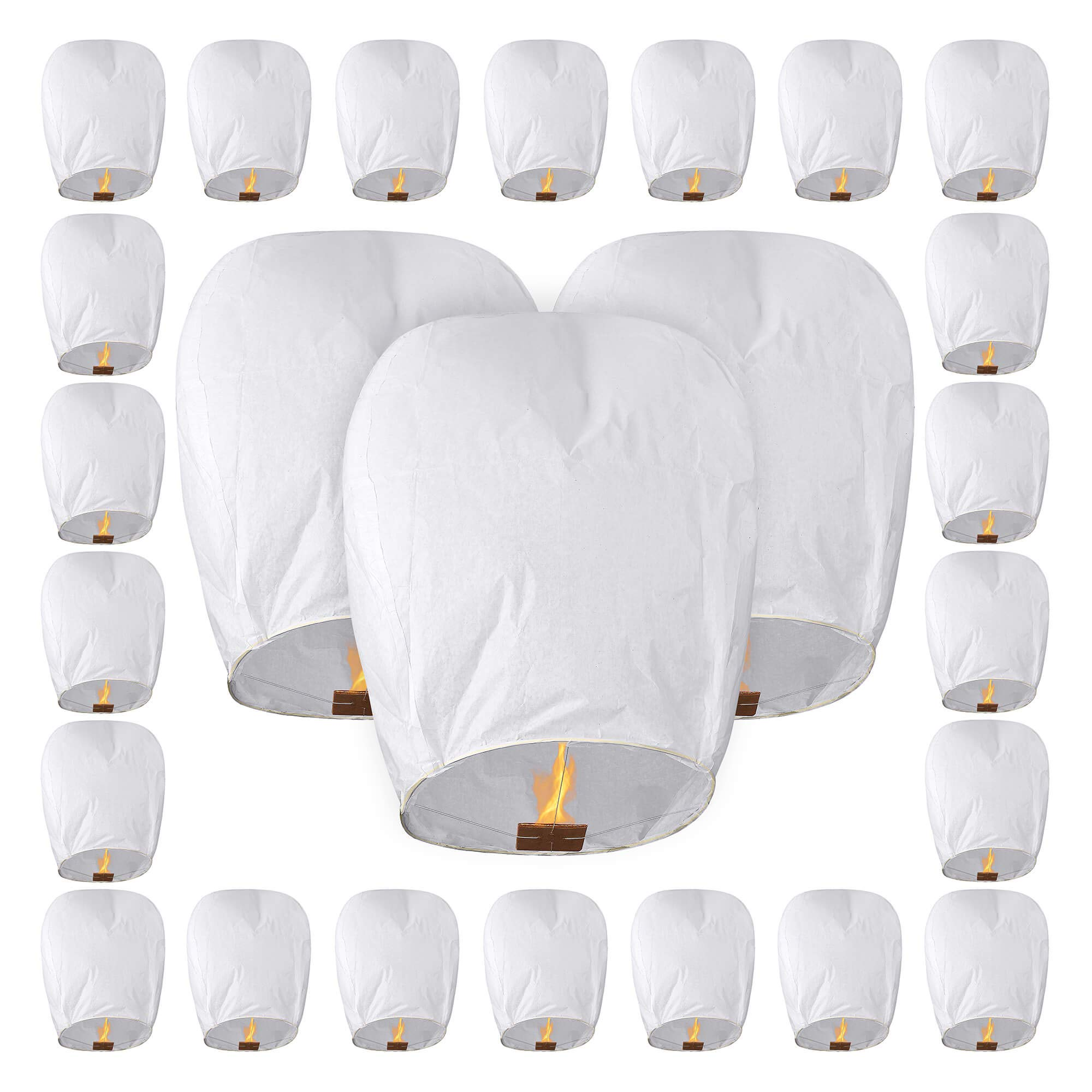 All Natural Shop Chinese Sky Lanterns - 25 Pack Eco Friendly Fully Assembled 100% Biodegradeable (Set of 25 White, Wire Free Paper Sky Lanterns) For Weddings, Birthdays, Memorials & More! by All Natural Shop