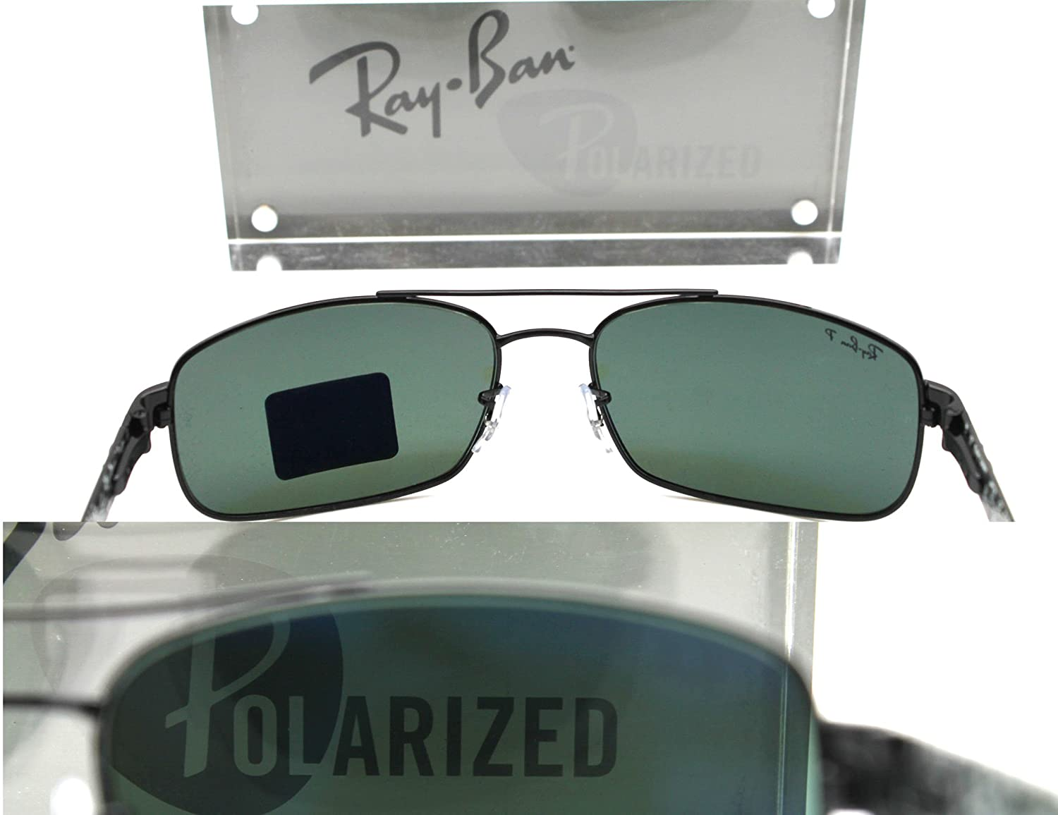 Amazon.com: Ray-ban Sunglasses RB 8316 002/N5 62mm Black Carbon Fibre Crystal Green Polarized: Shoes