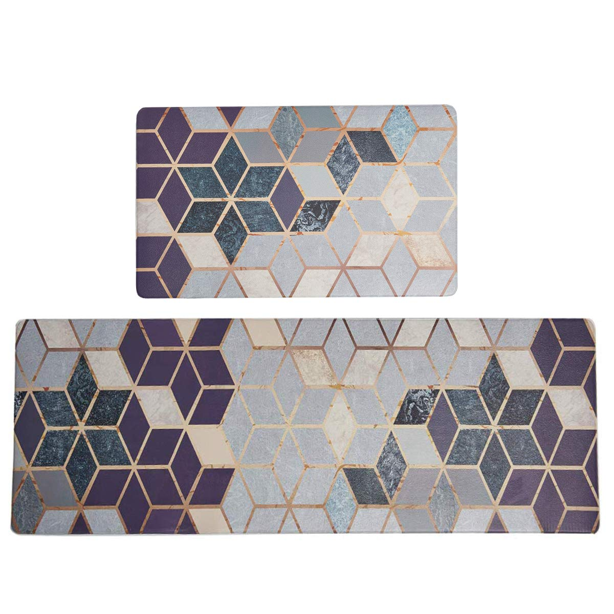 SHACOS Kitchen Rugs Mats Set of 2 Comfort Mat PVC Leather Floor Mat Anti Fatigue Wipe Clean Non Slip Oil Stain Resistant (18''x30''+20''x55'', Cubes)