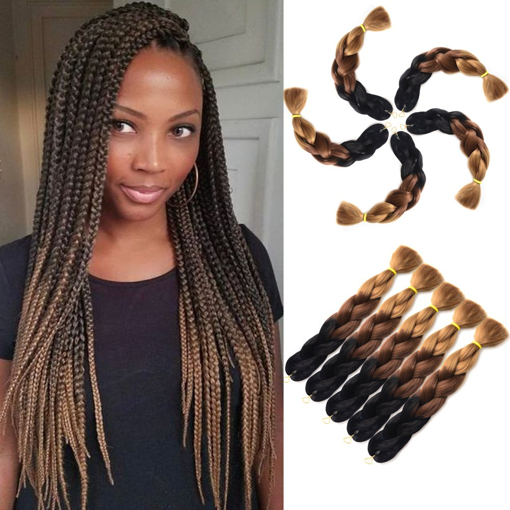 24 Braiding Hair Twist Braids Black To Brown Ombre Synthetic Hair