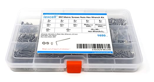 iExcell 1650 Pcs M2 x 3//4//5//6//8//10//12//16//18//20//25 mm Stainless Steel 304 Hex Socket Flat Head Cap Screws Nuts Washers Hex Wrench Assortment Kit