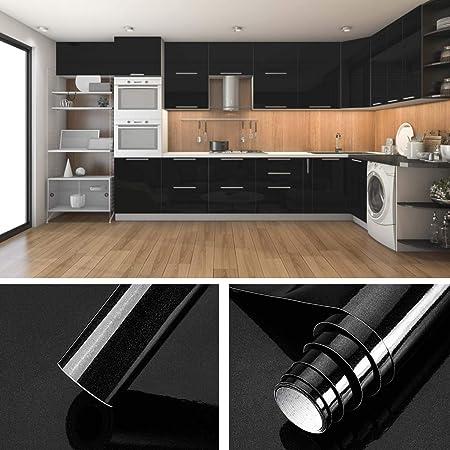 KINLO Folie Küche Schwarz 61x500cm aus hochwertigem PVC Aufkleber für  Schrank Tapeten Küche Klebefolie Möbel wasserfest selbstklebende Folie ...