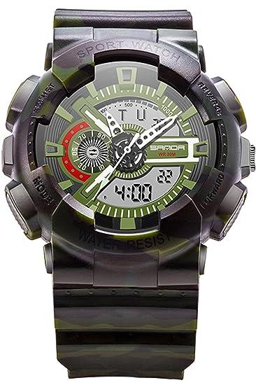 Sanda ejército verde Digital reloj deportivo analógico al aire libre estilo militar cronómetro: Amazon.es: Relojes