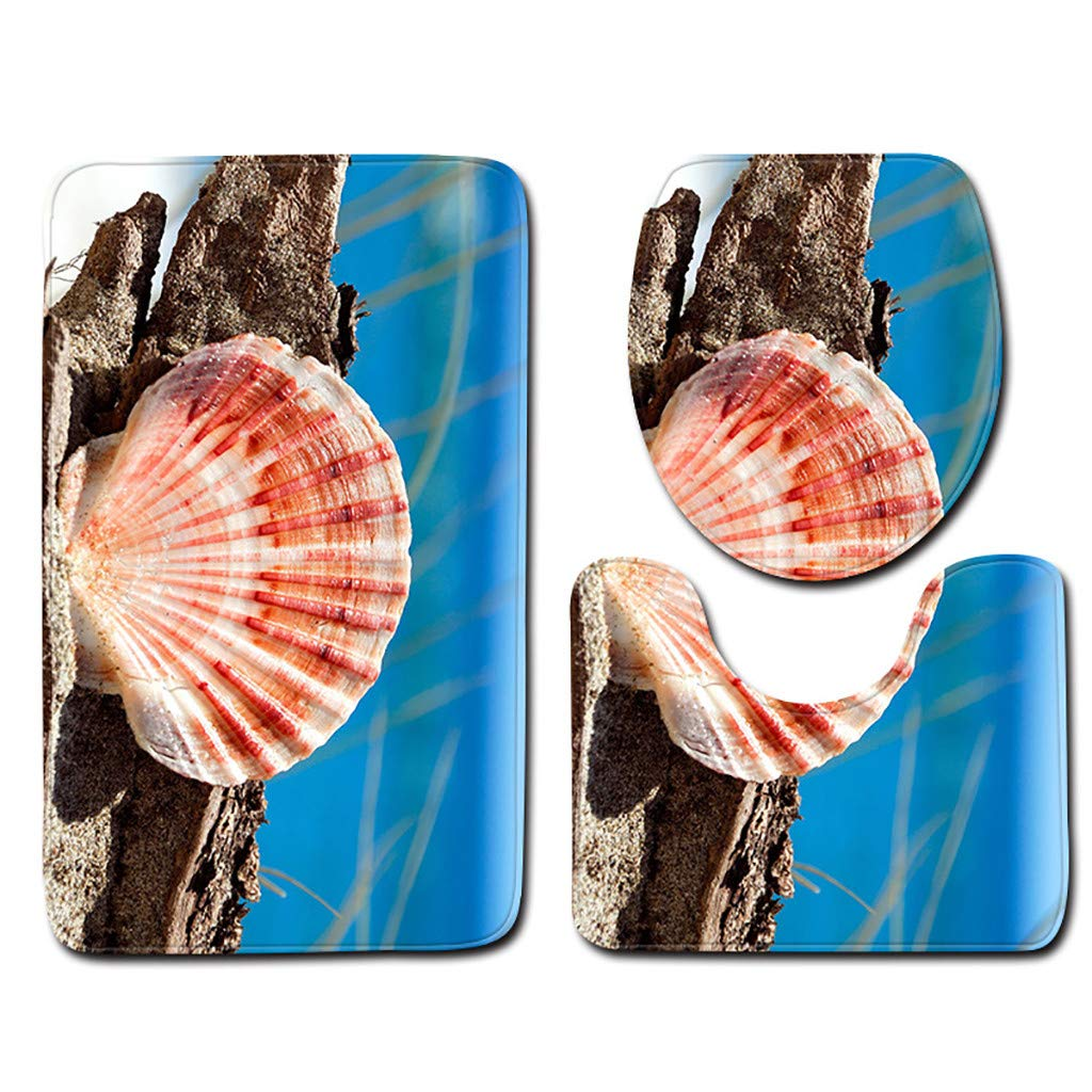 Iuhan 3pcs Non-Slip Bath Mat Bathroom Kitchen Carpet Doormats Pedestal Rug Lid Toilet Cover Bath Mat Home Floor Covers Pads Decor Clearance Sale 3 Pieces Sea Shell Bathroom Doormats Rug Mat Set B