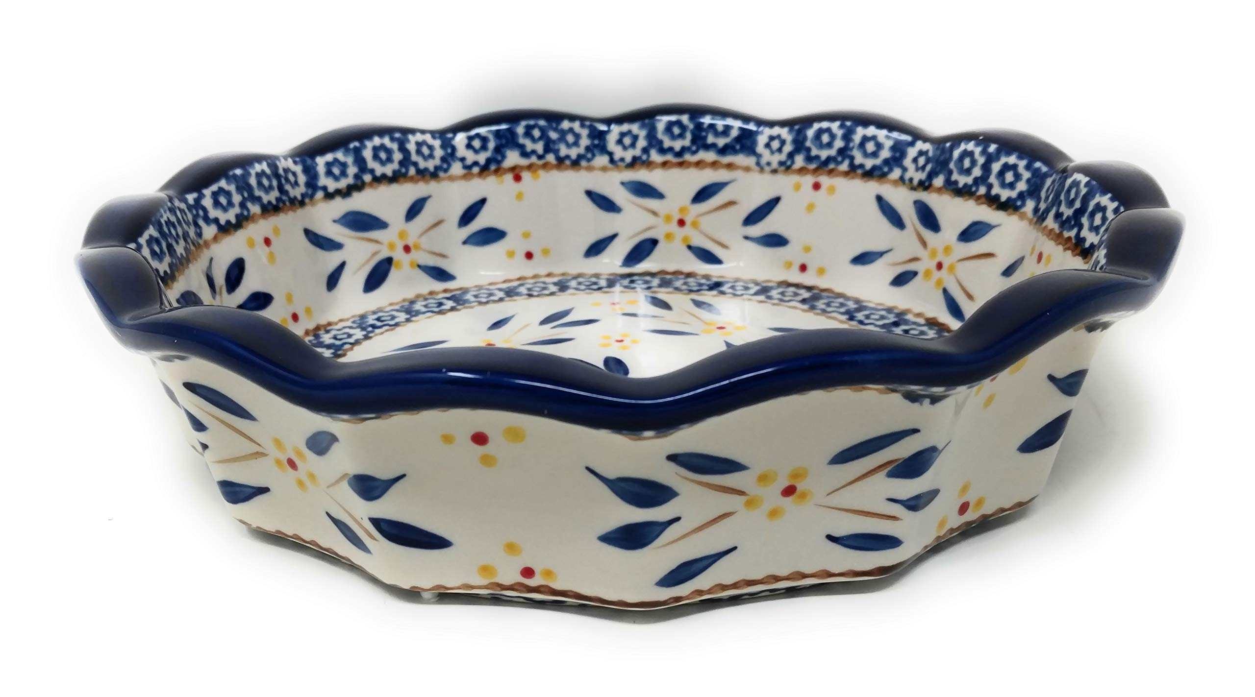 Temp-tations 10'' x 2.25'' Pie Pan w/Cover, Scalloped, Deep Dish Pizza or Quiche (Old World Blue)