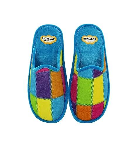 Zapatillas Biorelax - Mujer Cuadros Cruzados - Turquesa, 36: Amazon.es: Zapatos y complementos