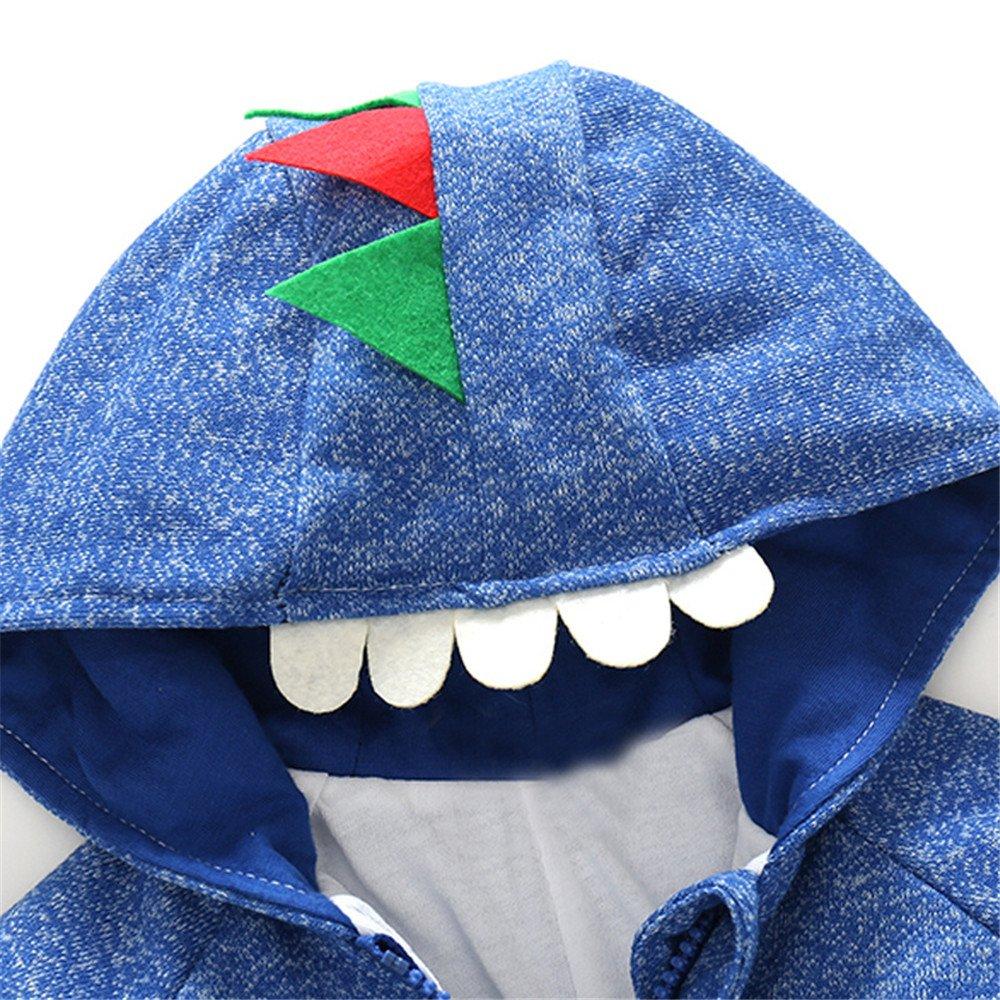 Anna/&Judy Baby Cotton Thicken 3D Dinosaur Zipper Jackets Little Girls Casual Hooded Coats Infant Boy Sport Cardigan