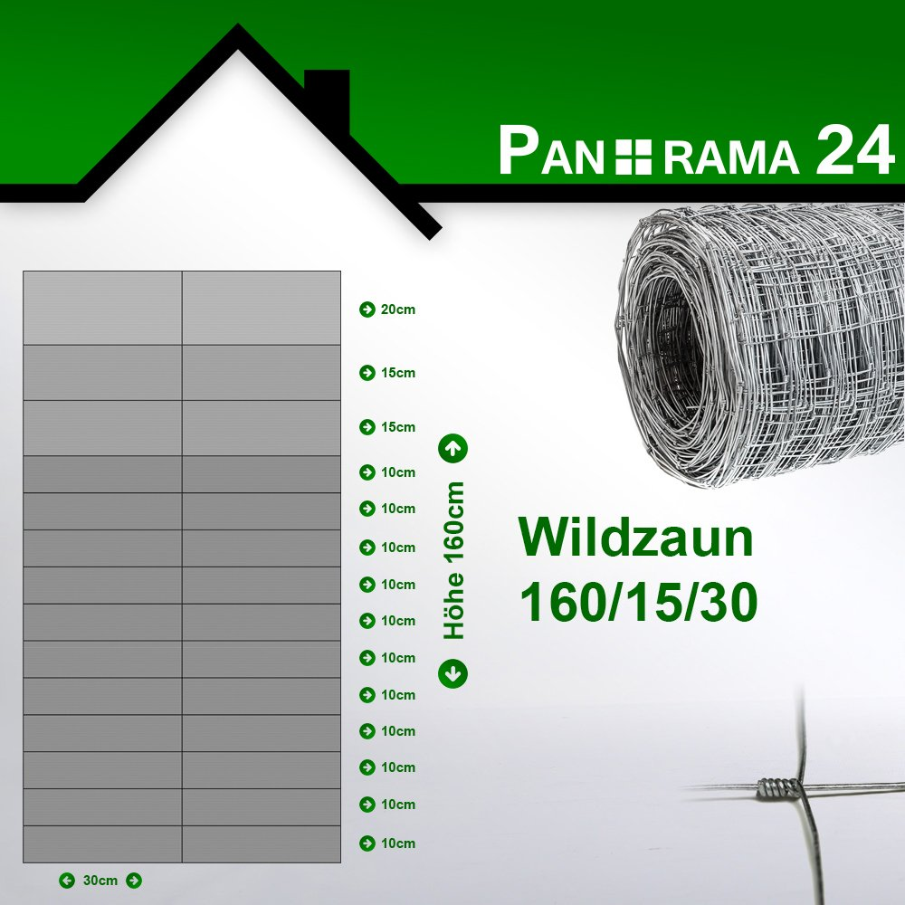 Wildzaun Forstzaun Weidezaun Rollenware Verzinkt 160//15//15 50m