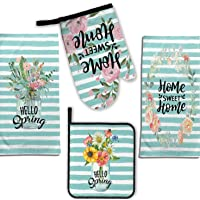 4c Nantucket Home Easter Spring Kitchen Dish Towels Pot Holder Oven Mitt Set Playful Bunny Rabbits Hopping in The Flowers with Fun Sayings Yellow//Multi