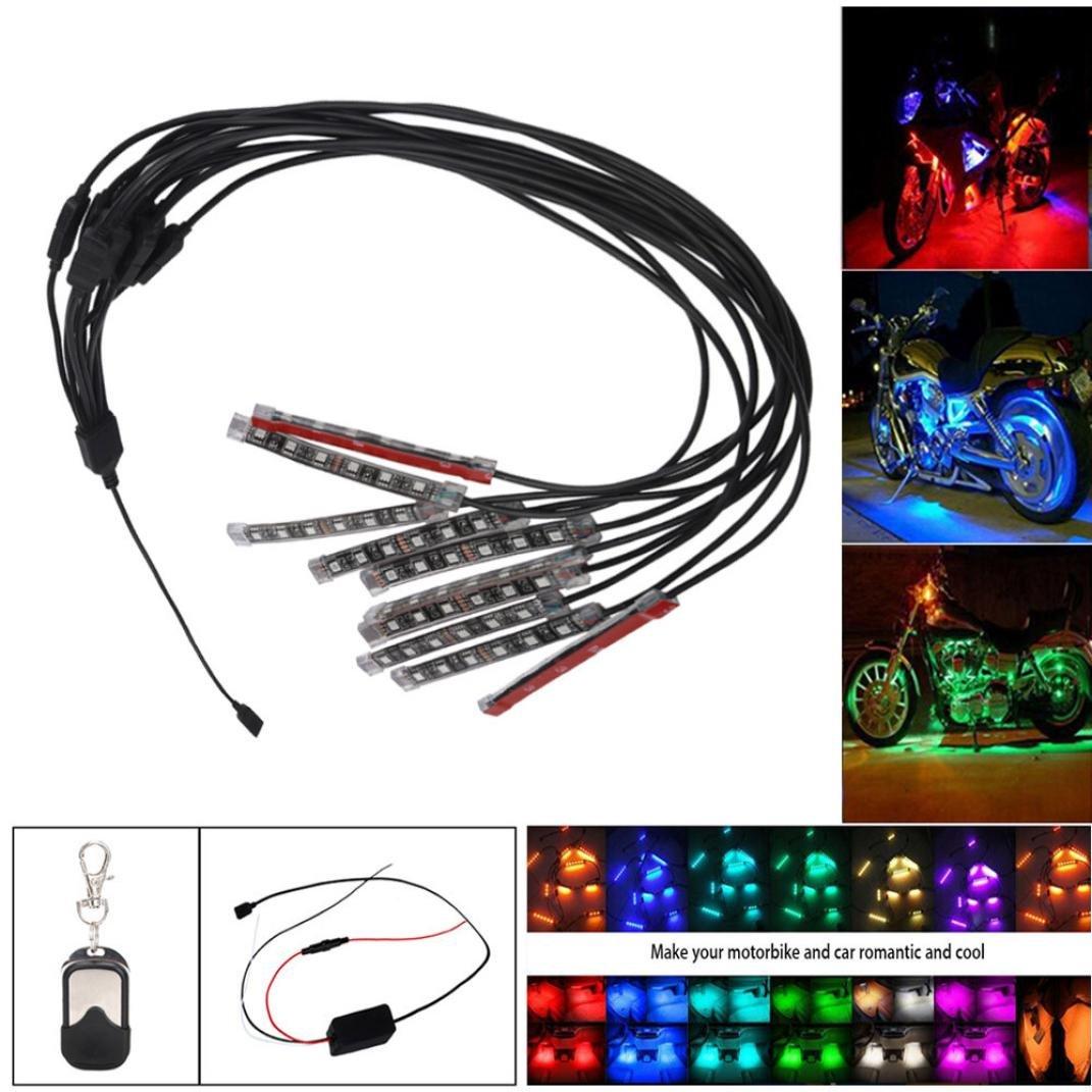 DZT1968 10PCS RGB 50W LED Car Motorcycle Chopper Frame Glow Lights Flexible Neon Strips Kit 10cm