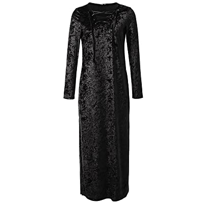 JayJay Women Retro Vintage Caged Neck Velvet Long Maxi Party Dress With pocket