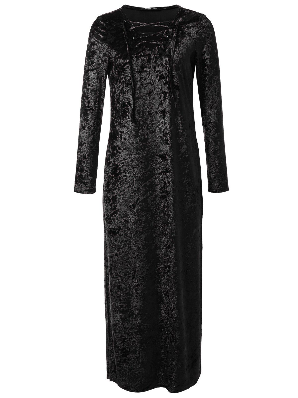 JayJay Women Elegant Vintage Caged Neck Velvet Long Maxi Dress With Pocket,Black,2XL