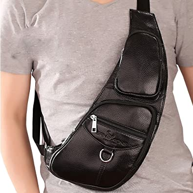 fdcd9ef5a854 Men s Genuine Leather Travel Hiking Riding Motorcycle Messenger Sling Chest  Bag (Black)