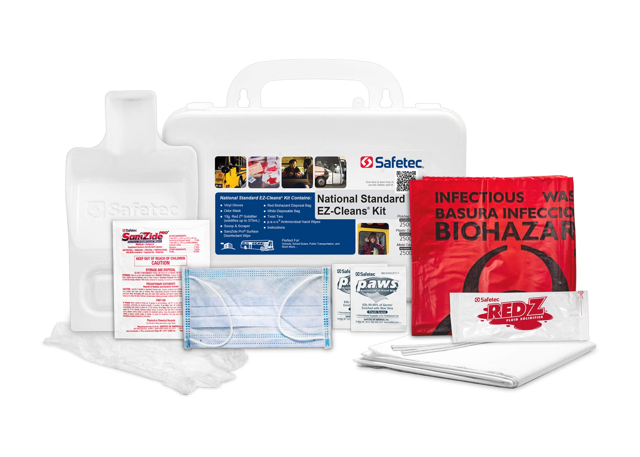 Safetec National Standard EZ-Cleans Kit (Hard case) Body Fluid Spill Kit (12 Kits/case)