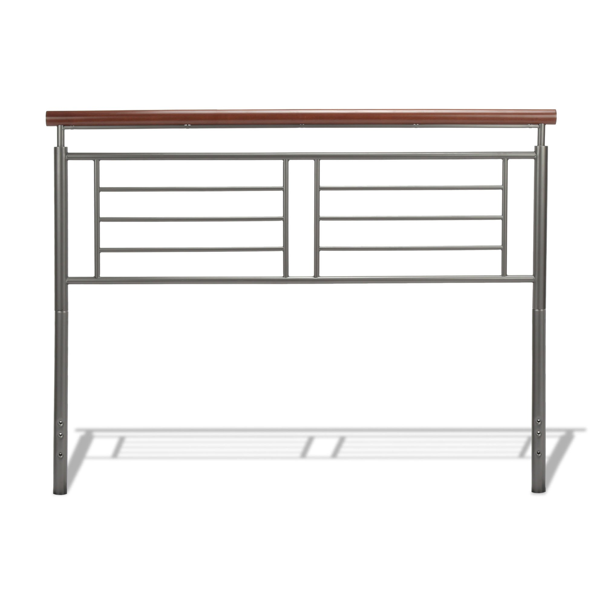 Fashion Bed Group Fontane Metal Headboard with Geometric Panel and Rounded Cherry Top Rail, Silver Finish, Full