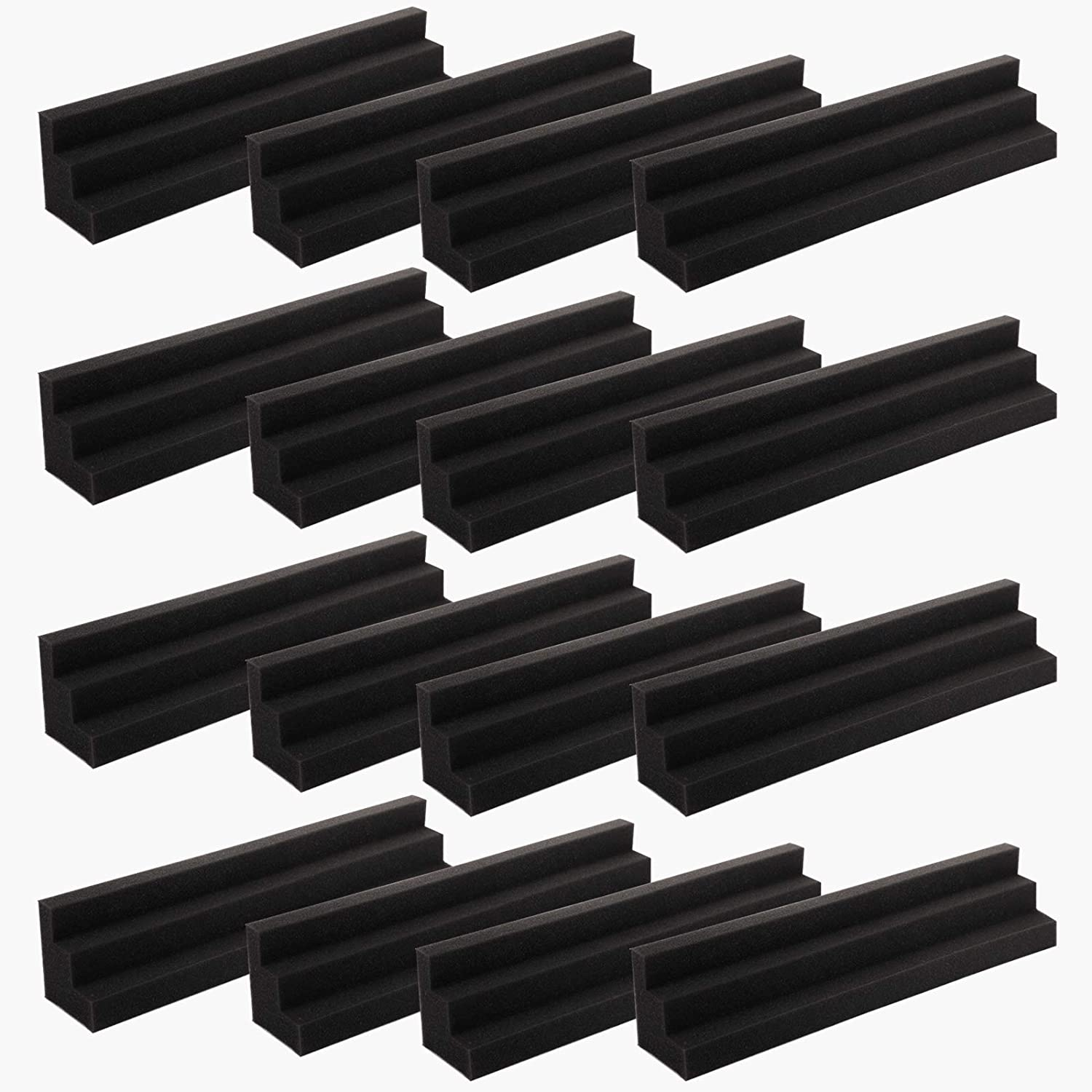 Bekith 12 Pack Column Acoustic Panels Bass Traps Corner Studio Foam, Soundproof Padding Wall Panels Corner Block Finish for Studios or Home Theater, Black