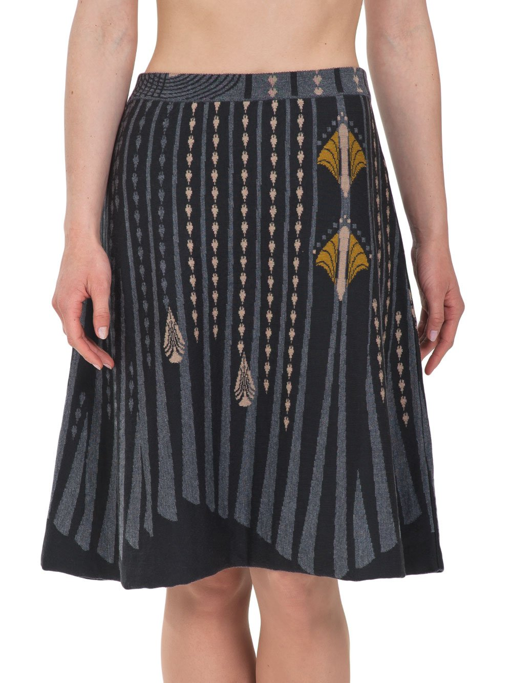 IVKO Jacquard Skirt with Relief Motifs, Anthracite (US 6 - EUR 36)