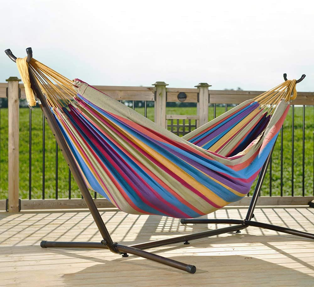 Vivere Double Hammock & 9' Steel Stand - Tropical
