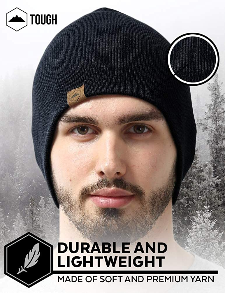 Daily Knit Beanie by Tough Headwear - Warm, Stretchy & Soft Beanie Hats for Men & Women - Year Round Comfort - Serious Beanies for Serious Style Black OSFA: Clothing