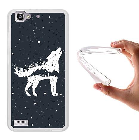 Funda Huawei P8 Lite Smart, WoowCase [ Huawei P8 Lite Smart ] Funda Silicona Gel Flexible Lobo Frase - We Are All Made Of Stars, Carcasa Case TPU ...