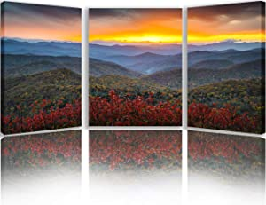 Wall Decorations for Living Room Landscape Wall Art Blue Ridge Parkway Autumn Pictures Appalachian Mountains Paintings Modern Artwork Home Decor for Living Room Framed Ready to Hang(42''Wx20''H)