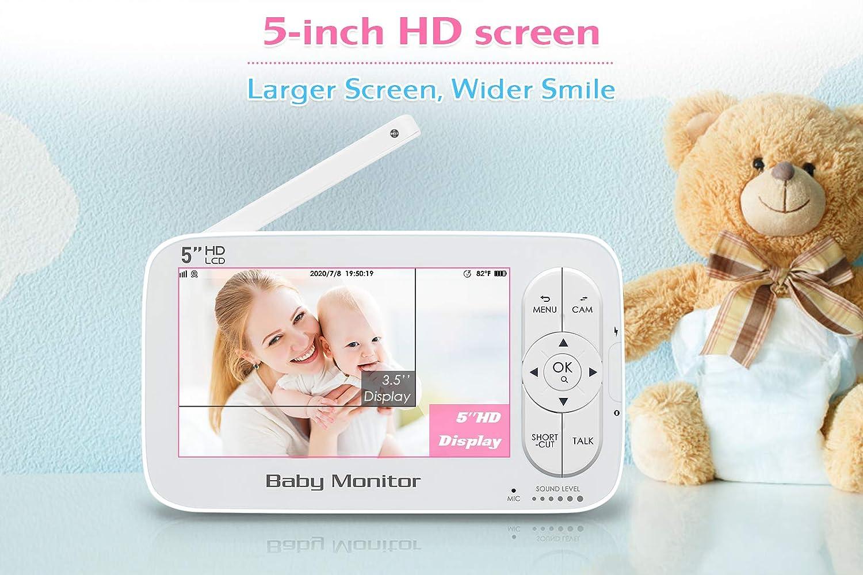 5 Zoll Babyphone Gegensprechfunktion Temperatur Babyphone mit Kamera Nachtsicht Schlaf-Modus 1280 x 720P HD Display Energiesparmodus Zoom Funktion 300m Reichweite Schlaflied