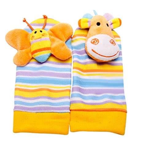 Happy cherry - Calcetines Sonajero Juguete Musical Animal con Peluche Sonidos Para Bebés recién nacidos -