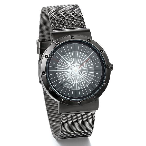 JewelryWe Reloj Moderno, Diseños Minimalistas Correa Ultra Fina Milanés, Acero Inoxidable Reloj de Cuarzo