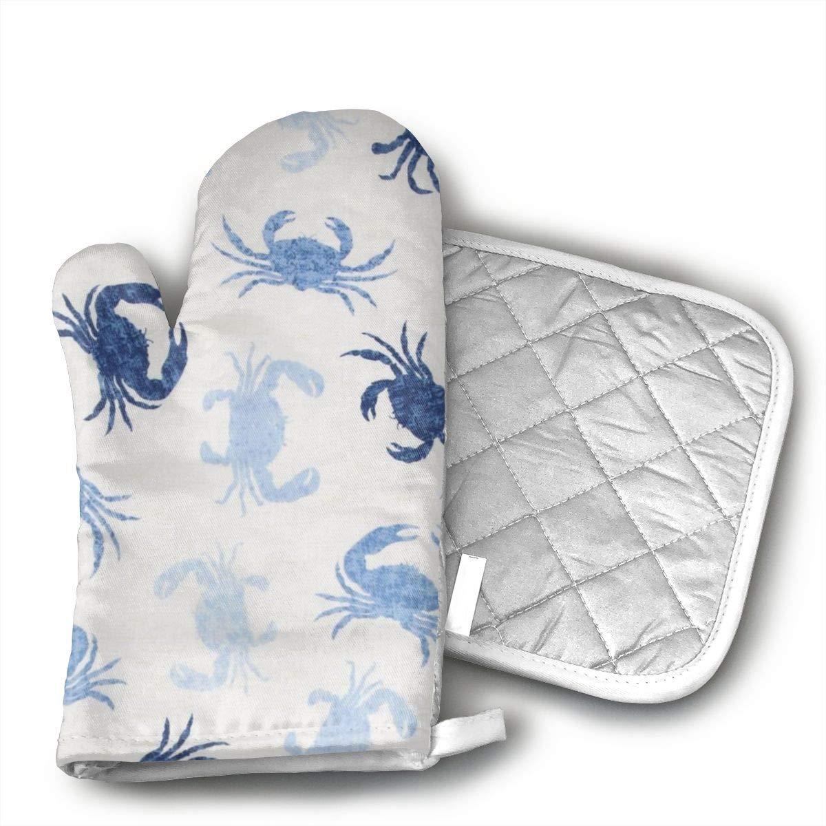 Jiqnajn6 Beach Crabs Oven Mitts,Heat Resistant Oven Gloves, Safe Cooking Baking, Grilling, Barbecue, Machine Washable,Pot Holders.