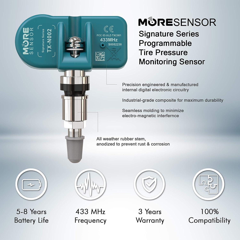 KX-S003 Preprogrammed for Select 450+ European Brand Models 36236798726 Aluminum Valve Stem MORESENSOR Compact PRO Series 433MHz TPMS Tire Pressure Sensor