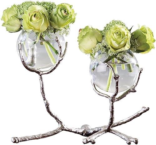 Global Views Twig 2 Vase Holder-Nickel Home Decor