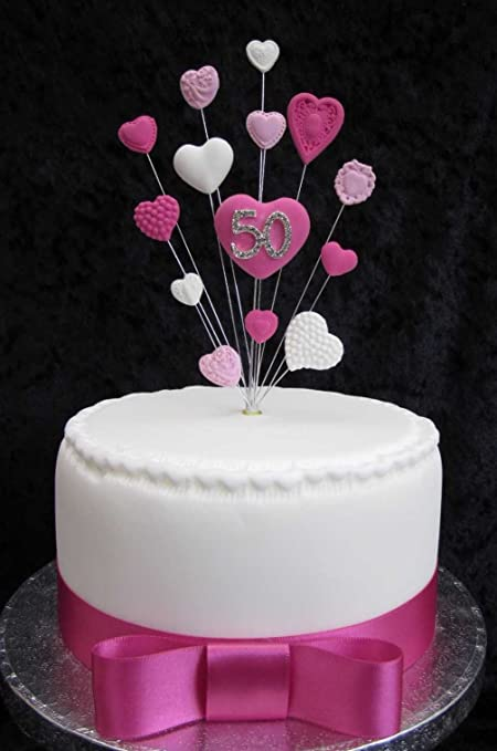 Prime 50Th Birthday Cake Topper Pinks And White Hearts Ideal For A Small Personalised Birthday Cards Bromeletsinfo