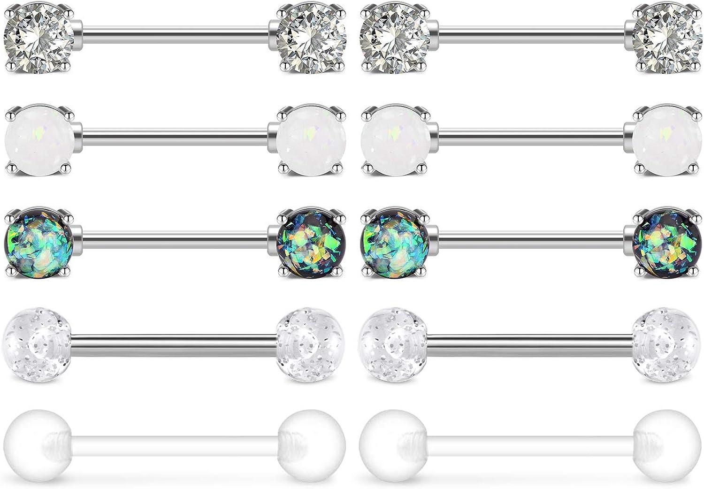 AceFun 5 Pairs Nipple Rings Stainless Steel Straight Barbell Rings Cubic Zirconia Synthesis Marble Stone Opal Nipplerings Body Piercing Jewelry, 14 Gauge