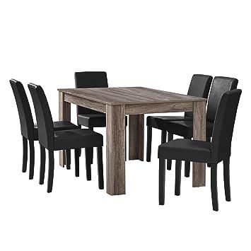 [en.casa] Esstisch Eiche Antik Mit 6 Stühlen Schwarz Kunstleder Gepolstert  140x90 Essgruppe