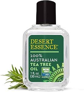 Desert Essence 100% Australian Tea Tree Oil - 1 Fl Oz - Therapeutic Grade Essential Oil - Skin Irritation - Glowing Skin - Home Cleansing - Refreshing - Natural Glow - Pedicure Regimen - Long Lasting