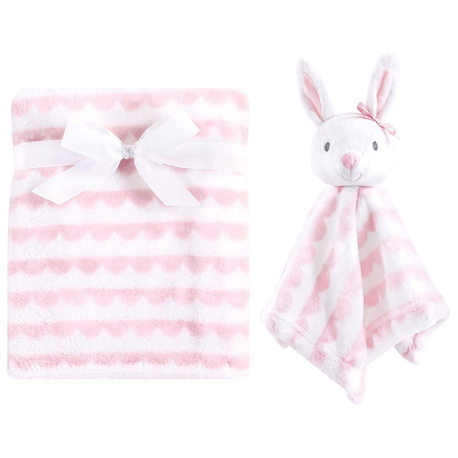 Hudson Baby Unisex Baby Plush Blanket with Security Blanket, Bunny 2 Piece, One Size