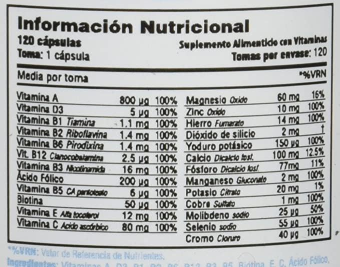 Smart Supplements Multi Vitaminas Suplemento - 120 Cápsulas: Amazon.es: Salud y cuidado personal