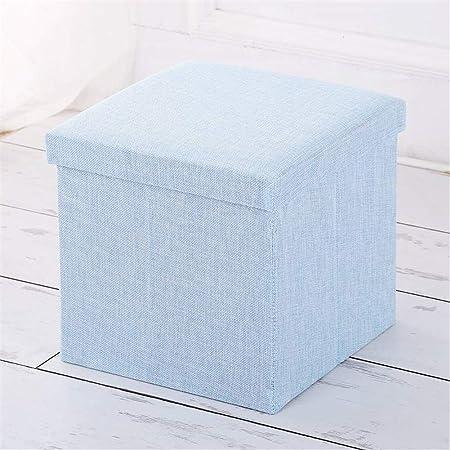 Azul Plegable Lino Taburete De Almacenamiento con Tapa Multifuncional Caja De Almacenaje De Artículos Diversos Ropa: Amazon.es: Hogar