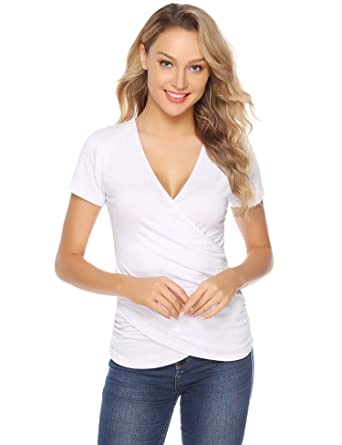7625b24eb58 Tee Shirt Femme Moulant Haut Sexy Col V Cache Coeur Decollete Top Femme  Élégant Chic Manche