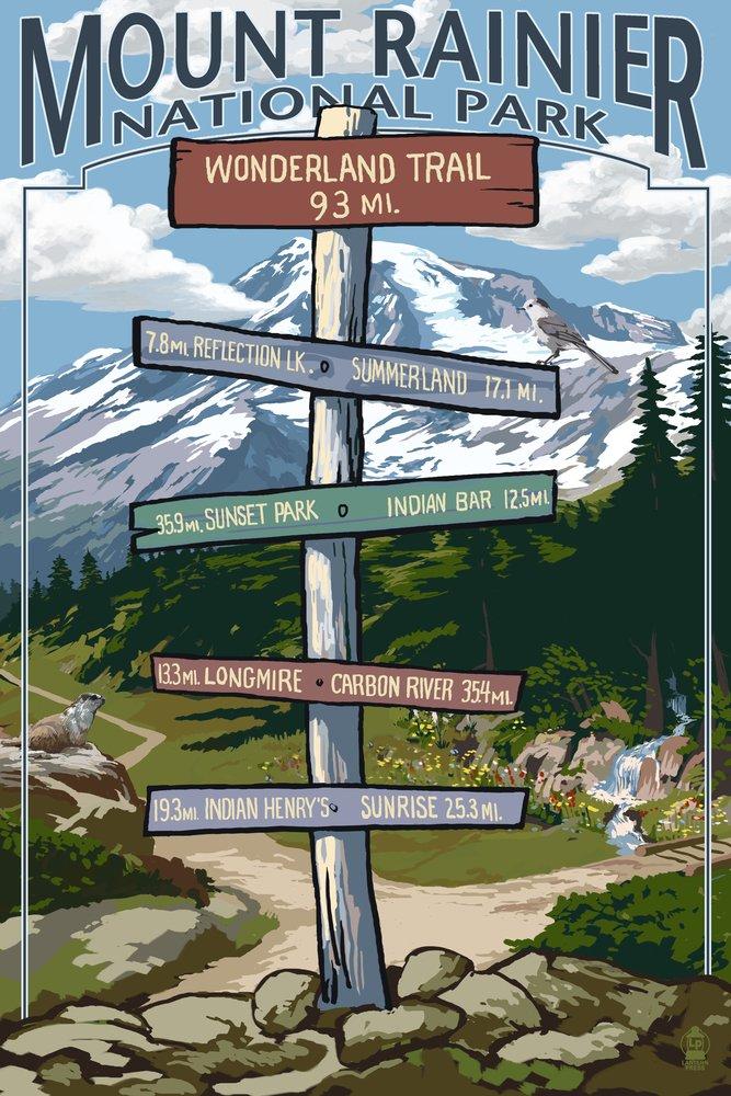 開店祝い Mount Art Rainier Lantern National Park - Wonderland Trail 9 Destination Sign (16x24 Giclee Gallery Print, Wall Decor Travel Poster) by Lantern Press B00N5COYXY 9 x 12 Art Print 9 x 12 Art Print, Pins store:775e28cd --- granjalailusion.com.ar