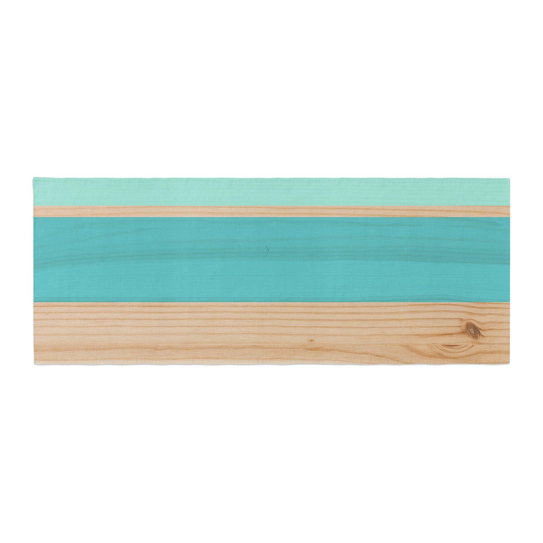 Kess InHouse KESS Original Spring Swatch - Blue Green Teal Wood Bed Runner, 34'' x 86''