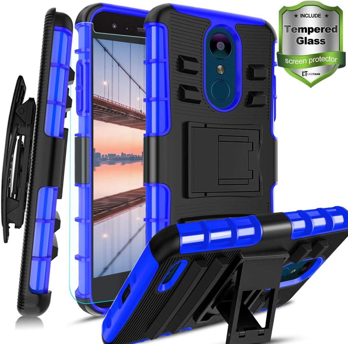 LG Aristo 2/LG Rebel 4 Case/Aristo 2 Plus/Phoenix 4/Zone 4/K8(2018)/Fortune 2/Risio 3/Tribute Dynasty/K8+/Rebel 4 LTE W [Tempered Glass Screen Protector] Built-in Kickstand Belt Clip Holster, Blue